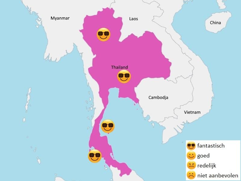 Map weer Thailand februari