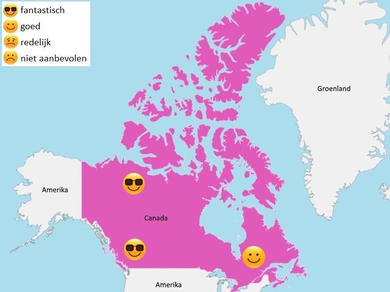 Map weer Canada augustus