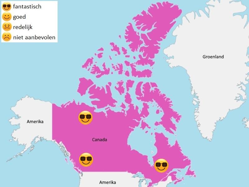 Map weer Canada juli