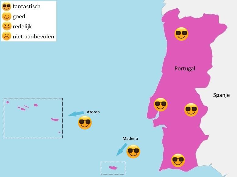 map weer Portugal juni